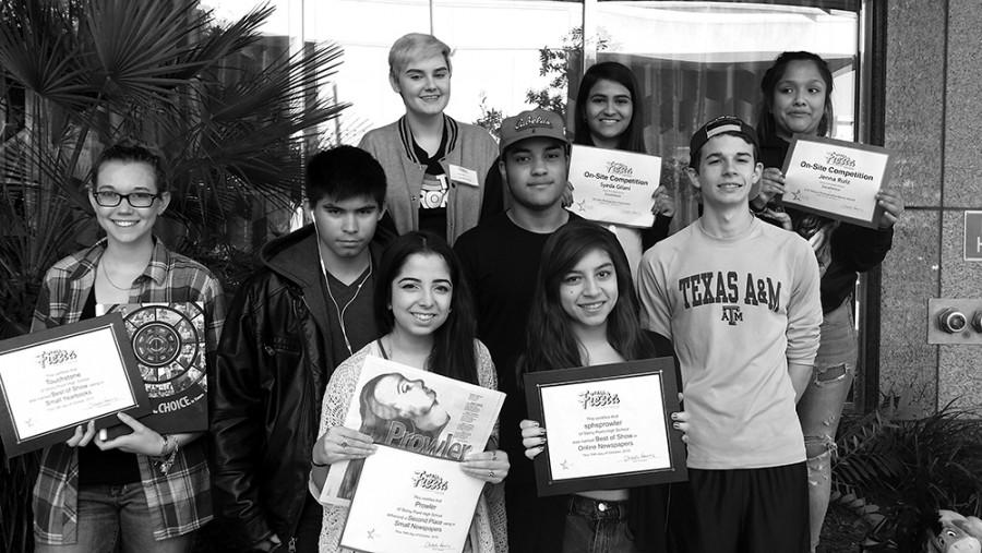 "The Prowler staff and yearbook staff members gather after winning several awards at the Texas Association of  Journalism Educators fall competition. ""I couldn't be more proud of my team taking home these awards,"" editor-in-chief, Rebeccah Macias said. ""Our journalism program is setting the expectations for years to come."""