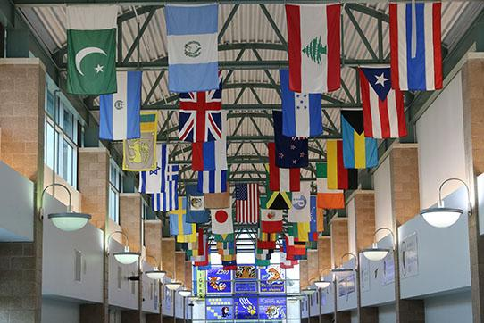 The Mall area of flags and stained glass windows