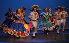 Baile Folk dancers performing on stage.